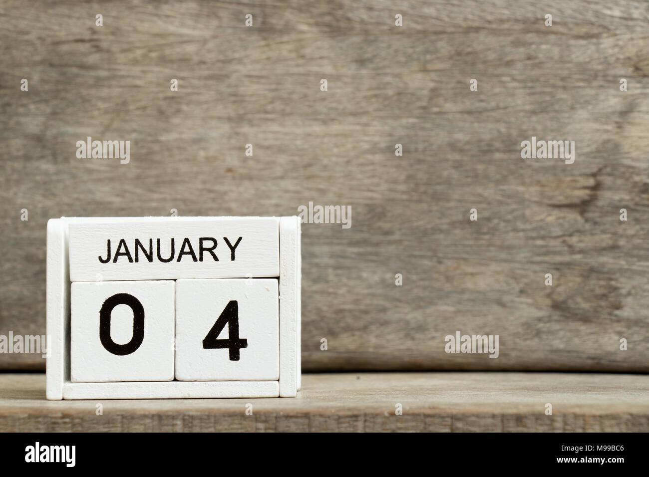 Block Bianco Calendario Data Presente 4 E Mese Gennaio Su