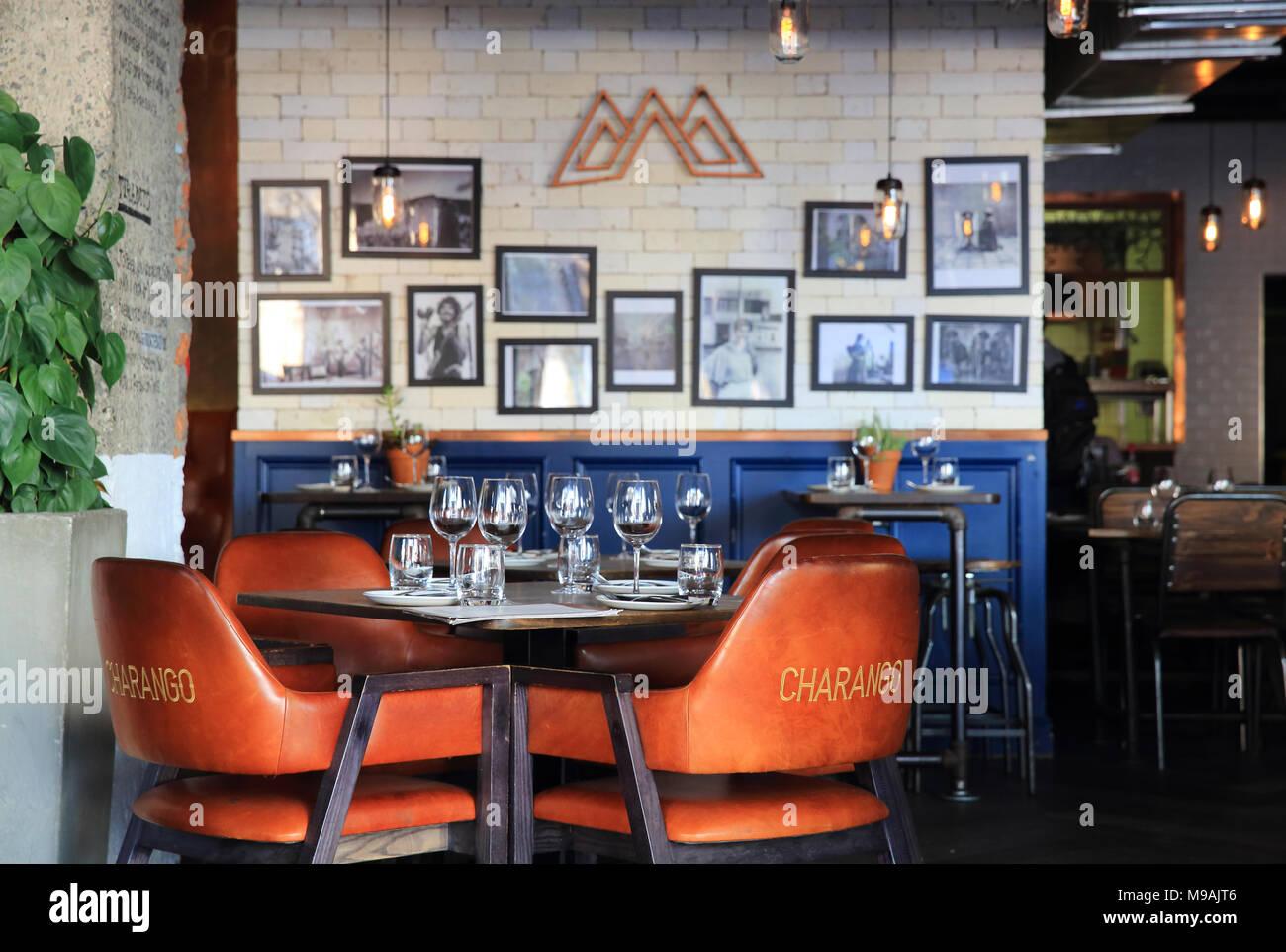 Charango bar e ristoranti su Bree Street, il più cool street nel centro di Città del Capo in Sud Africa Immagini Stock