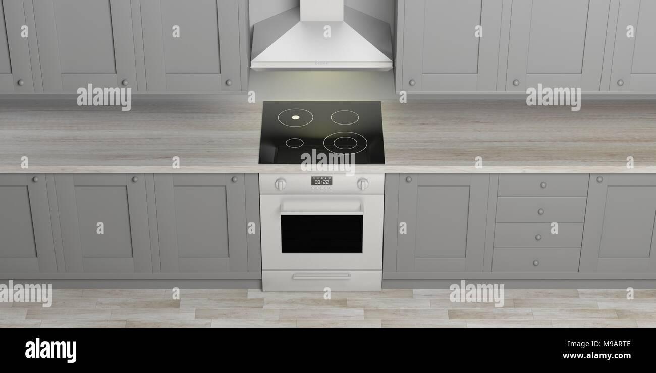 Grigio mobili da cucina e eletric stufa con piano cottura in ...