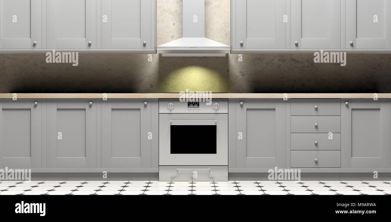 Mobili da cucina e stufa eletric e cappa su piastrelle ceramiche