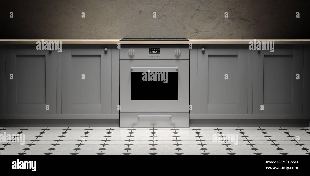 Mobili da cucina e stufa eletric su piastrelle ceramiche pavimento