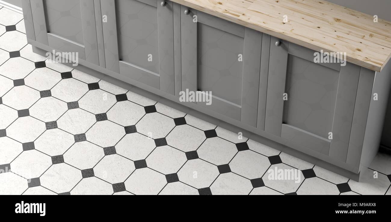 Mobile da cucina in bianco e nero di piastrelle di ceramica piano