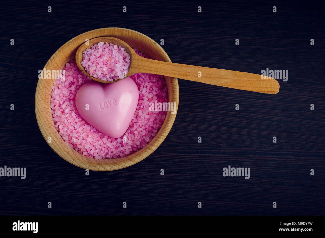 Spa E Il Concetto Di Benessere Rosa Mare Sale Nel Recipiente Con