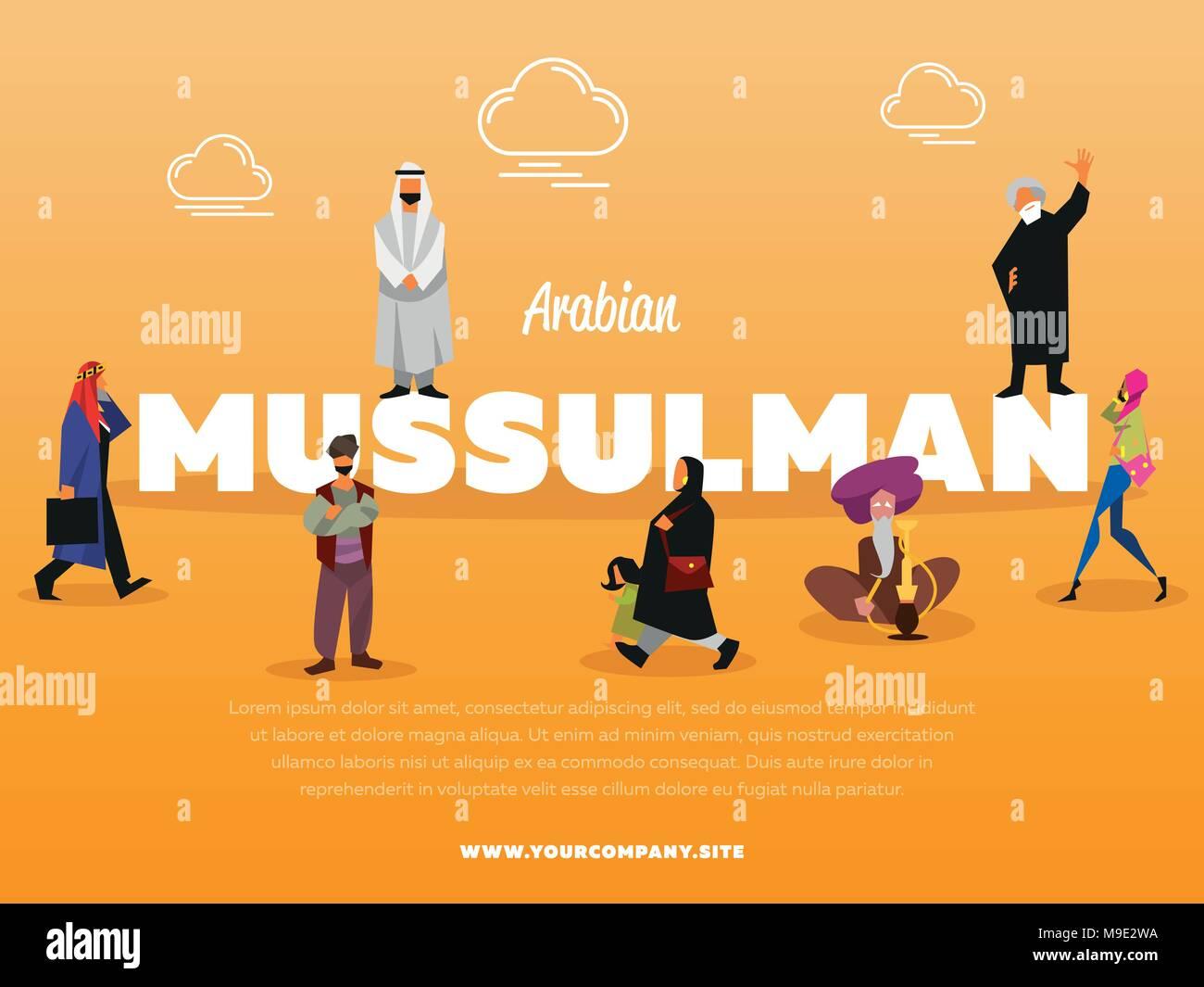 Arabian mussulman banner con persone Immagini Stock