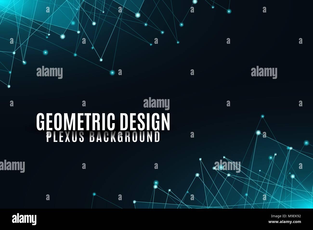 Abstract Sfondo Geometrico Blu Brillante Triangoli Connessi Su Uno