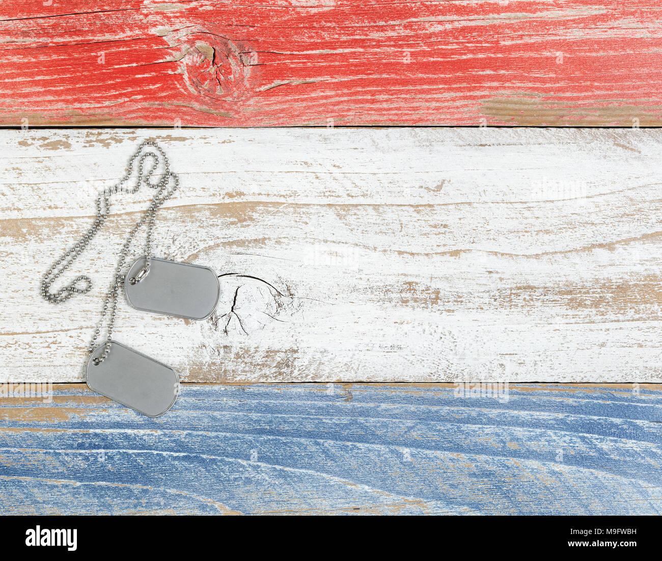 Id Militare Tag Con Rosso Bianco E Blu American Colori Nazionali