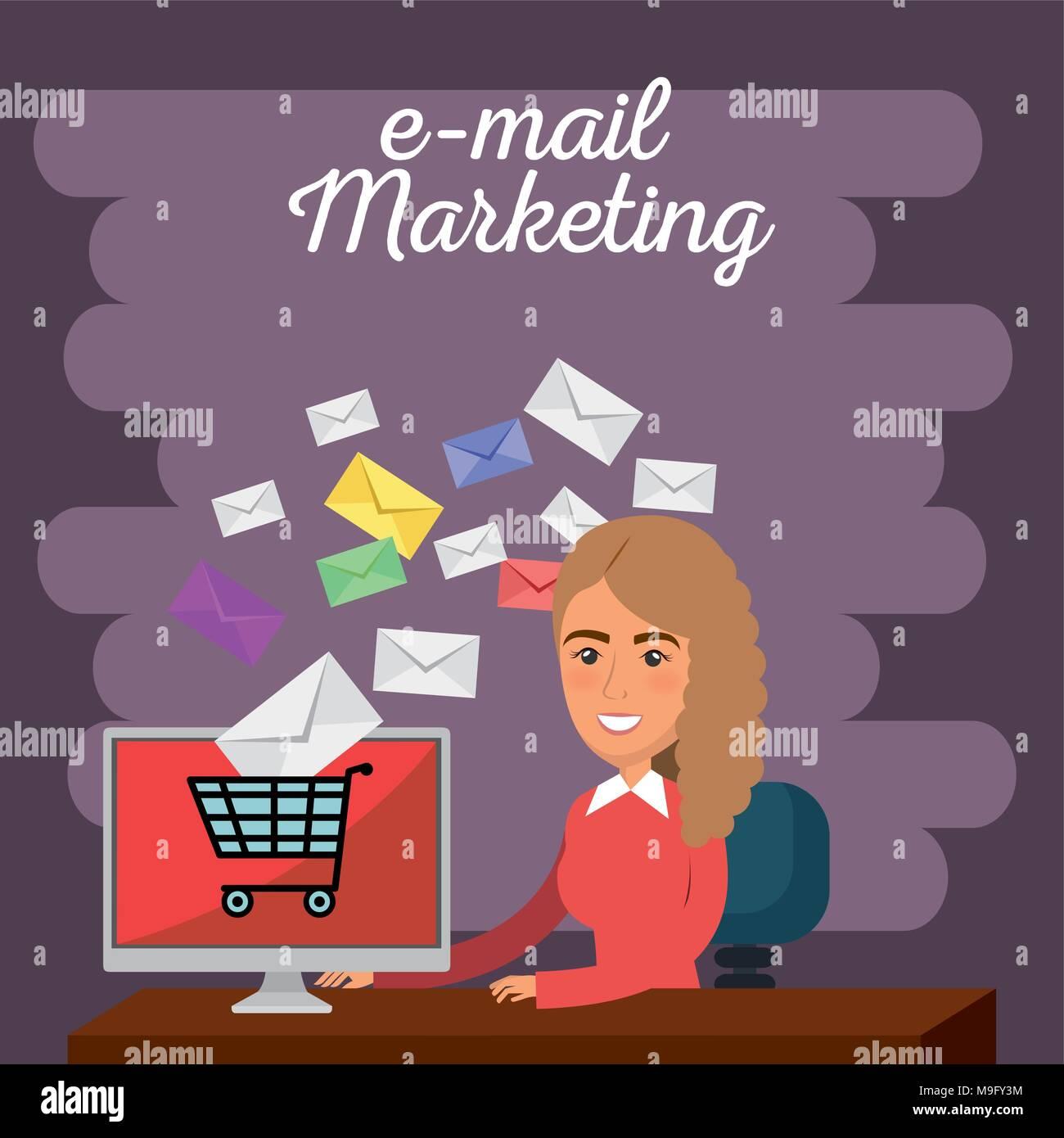 Imprenditrice in ufficio con il marketing per posta elettronica le icone Immagini Stock