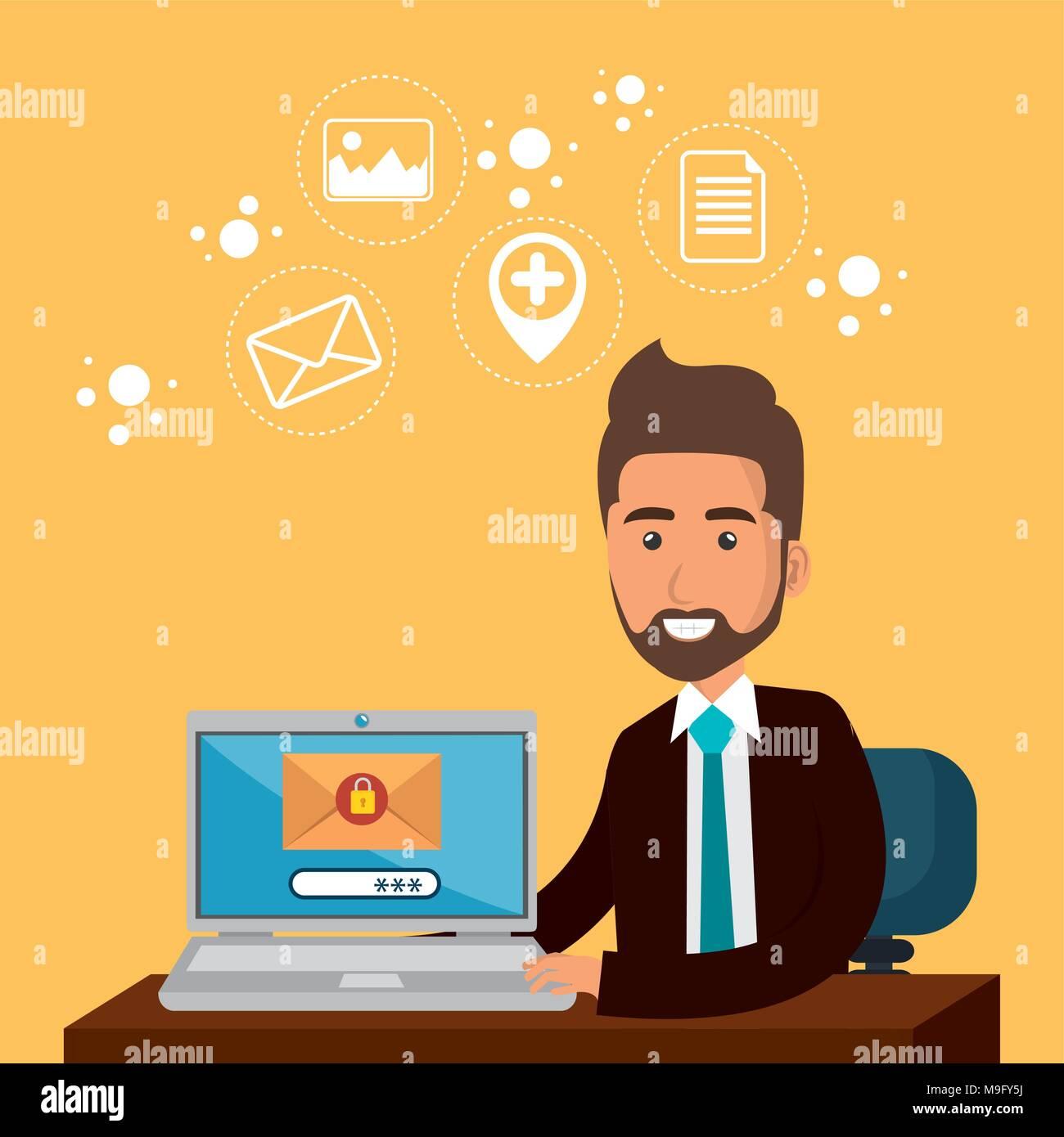 Imprenditore in ufficio con il marketing per posta elettronica le icone Immagini Stock