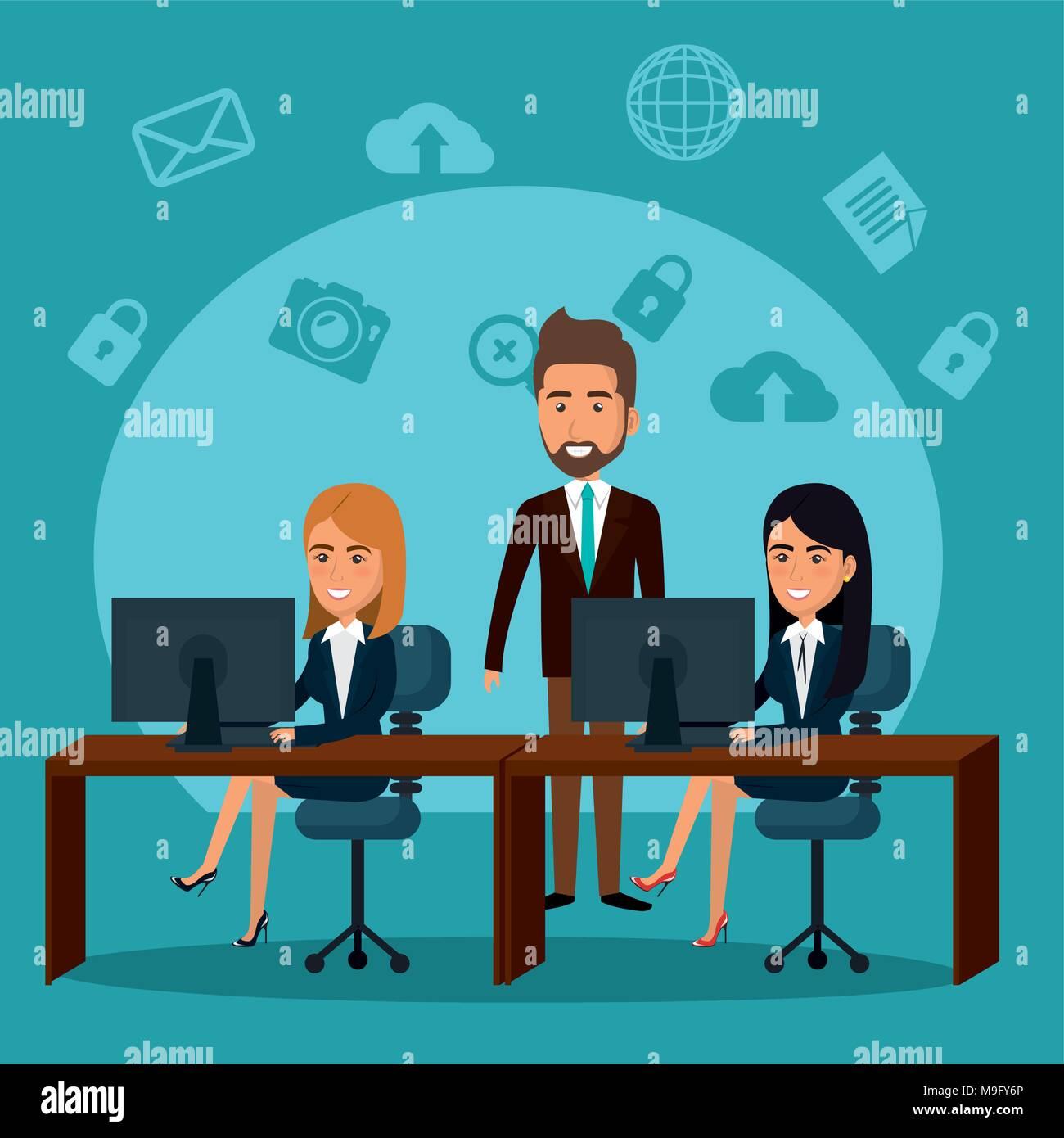 Gli imprenditori in ufficio con il marketing per posta elettronica le icone Immagini Stock