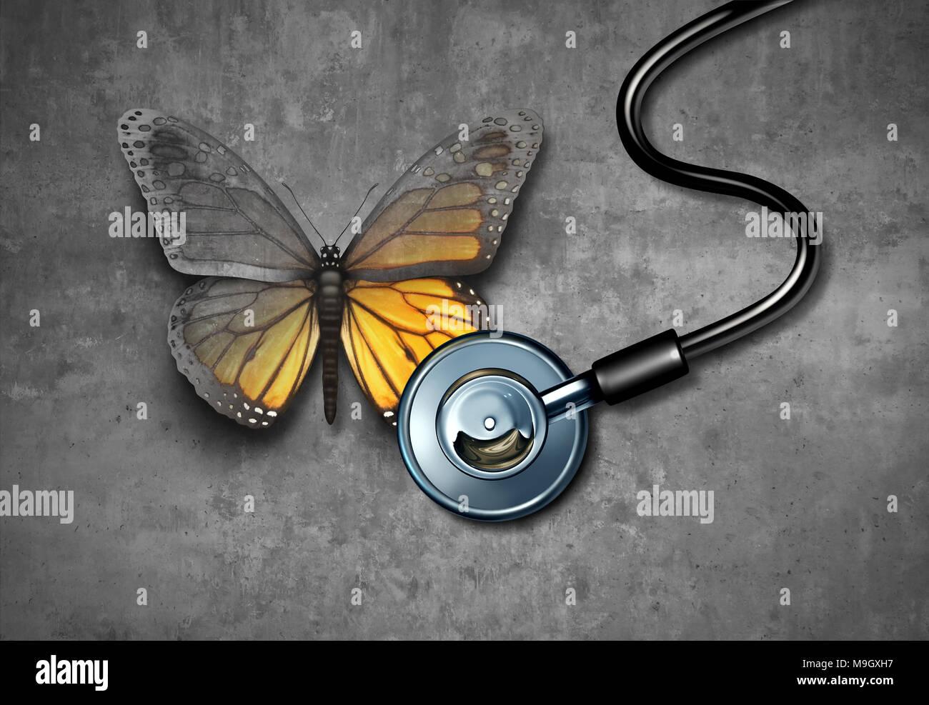 Recupero medicale e la guarigione attraverso il medico il concetto di riabilitazione come una farfalla grigio essendo rivive attraverso il trattamento mediante uno stetoscopio. Immagini Stock