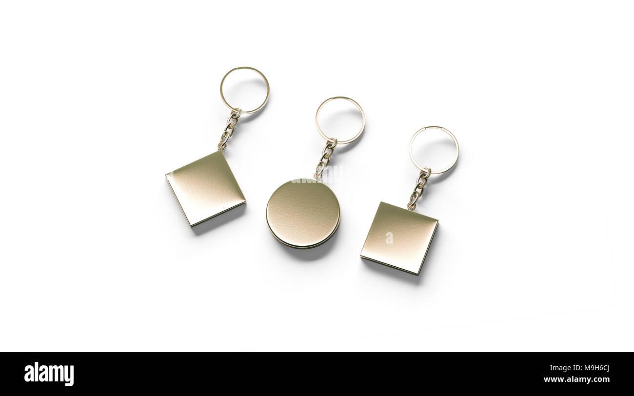 Blank golden key chain mock up lato in vista, rendering 3d. Oro chiaro una piazza circolare rhombus design portachiavi mockup isolato. Vuoto portachiavi semplice souvenir modello di supporto Immagini Stock