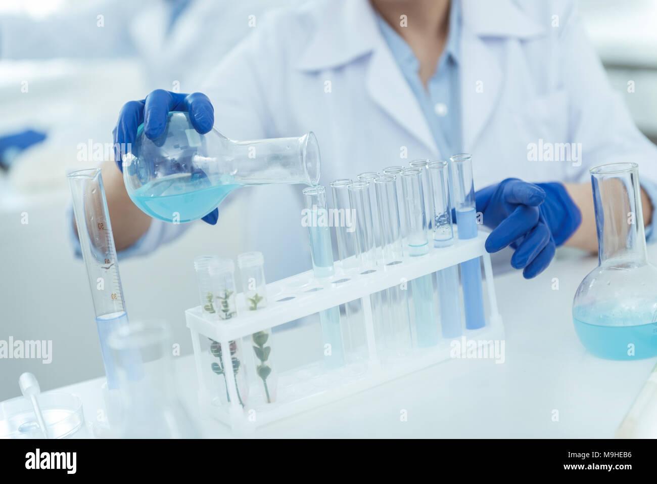 Esperto scienziato facendo un importante esperimento Immagini Stock