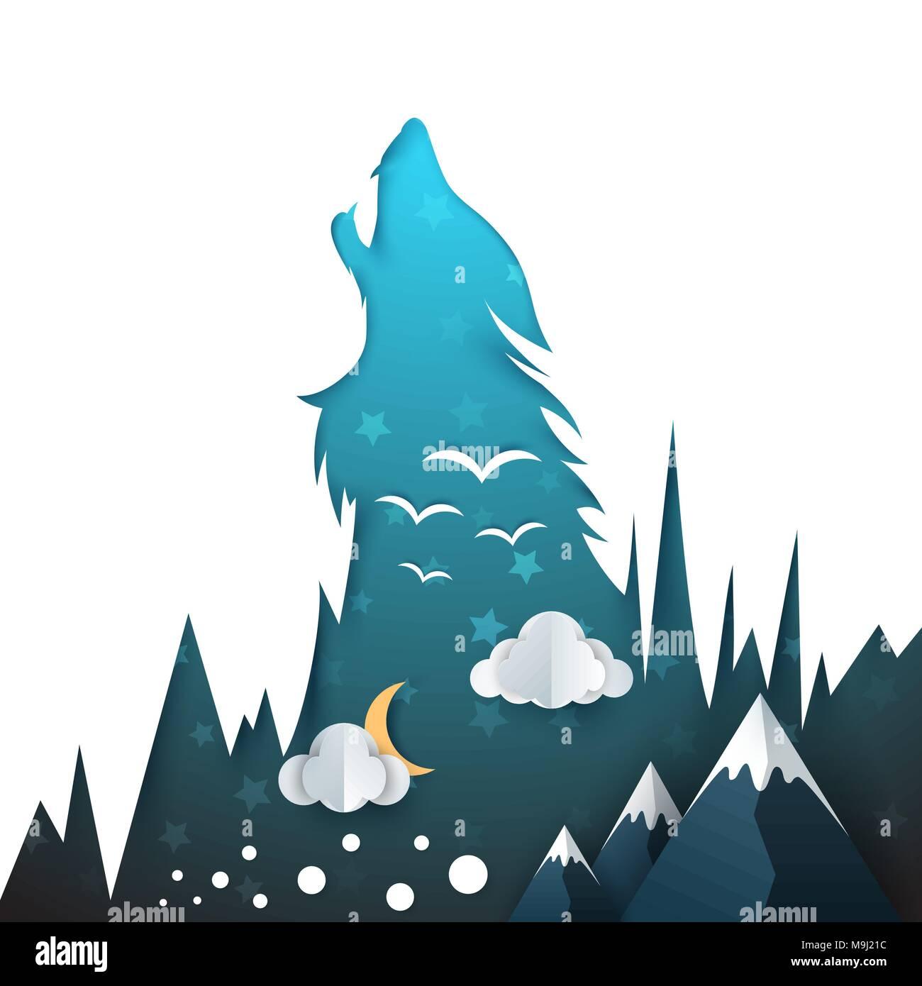 Illustrazione di lupo. carta cartone animato paesaggio illustrazione