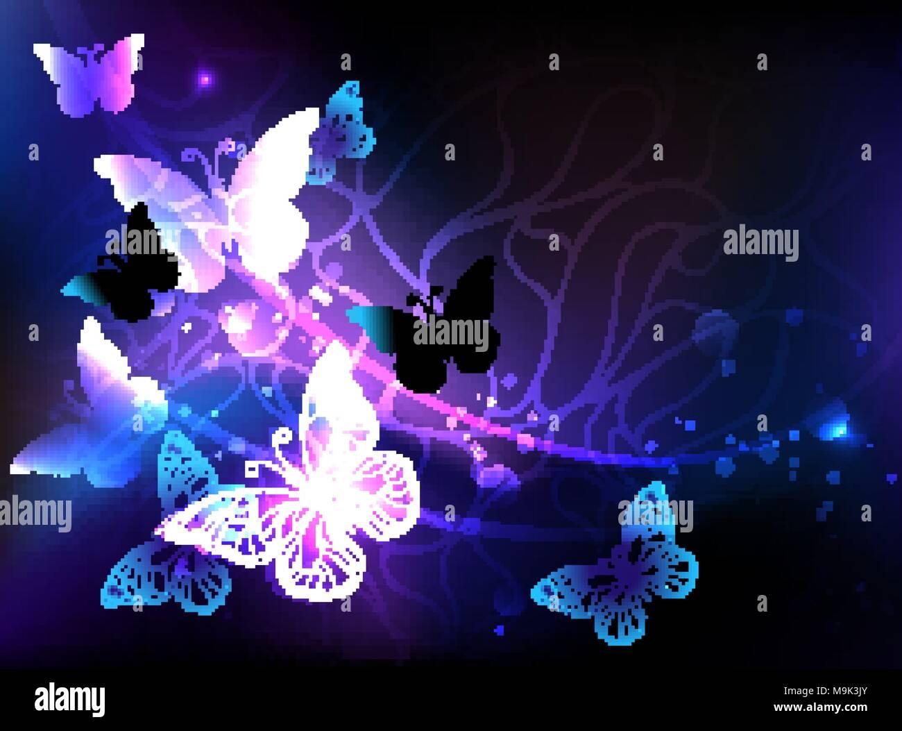 Sfondo nero con incandescente notte farfalle la notte for Sfondi con farfalle