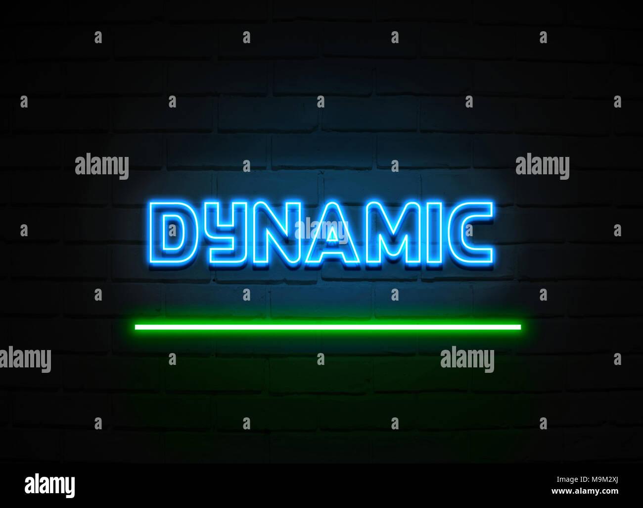 Dynamic insegna al neon - Neon incandescente segno sulla parete brickwall - 3D reso Royalty free stock illustrazione. Immagini Stock