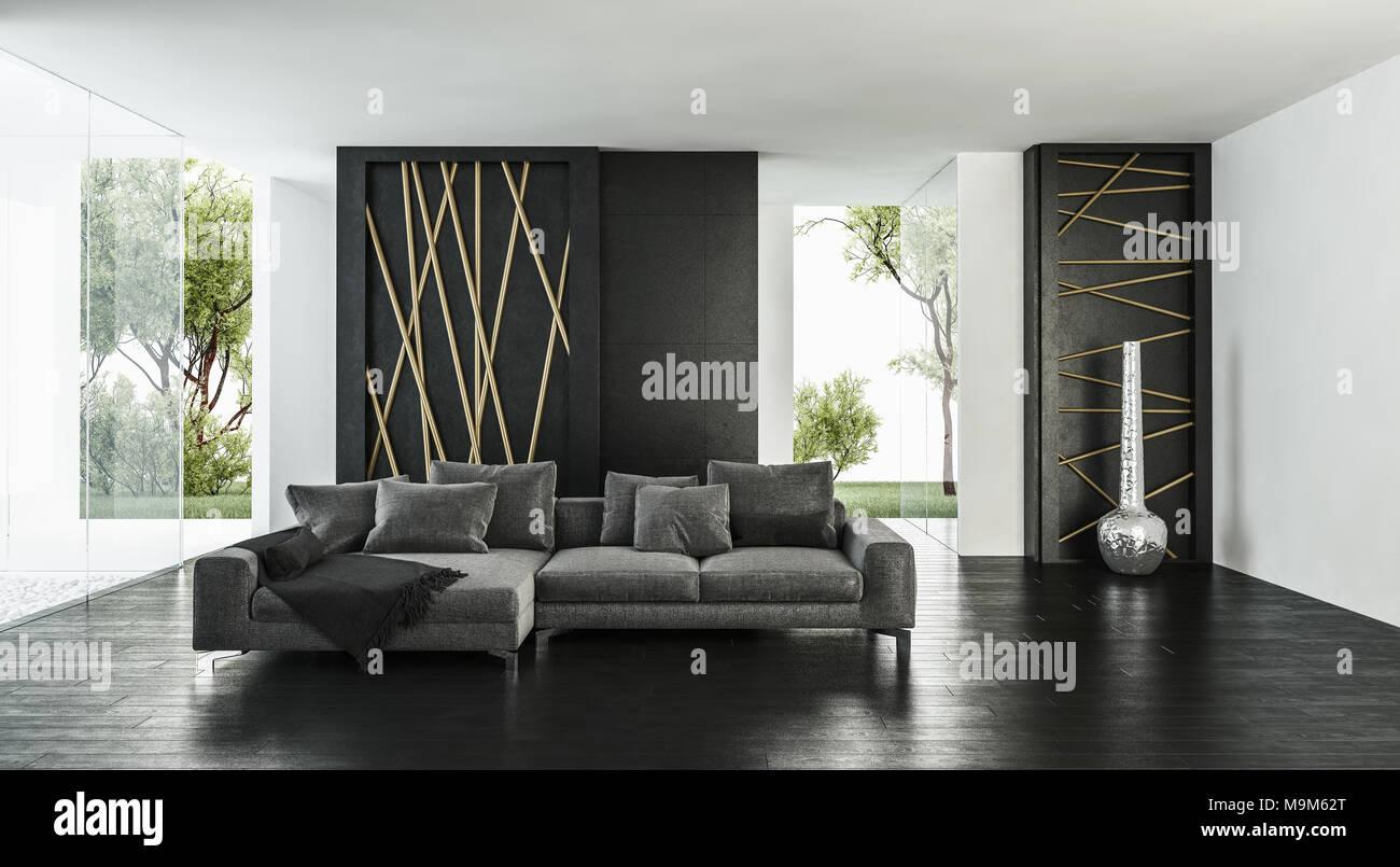 Luminosa e moderna ariosa elegante monocromatica di lusso soggiorno ...