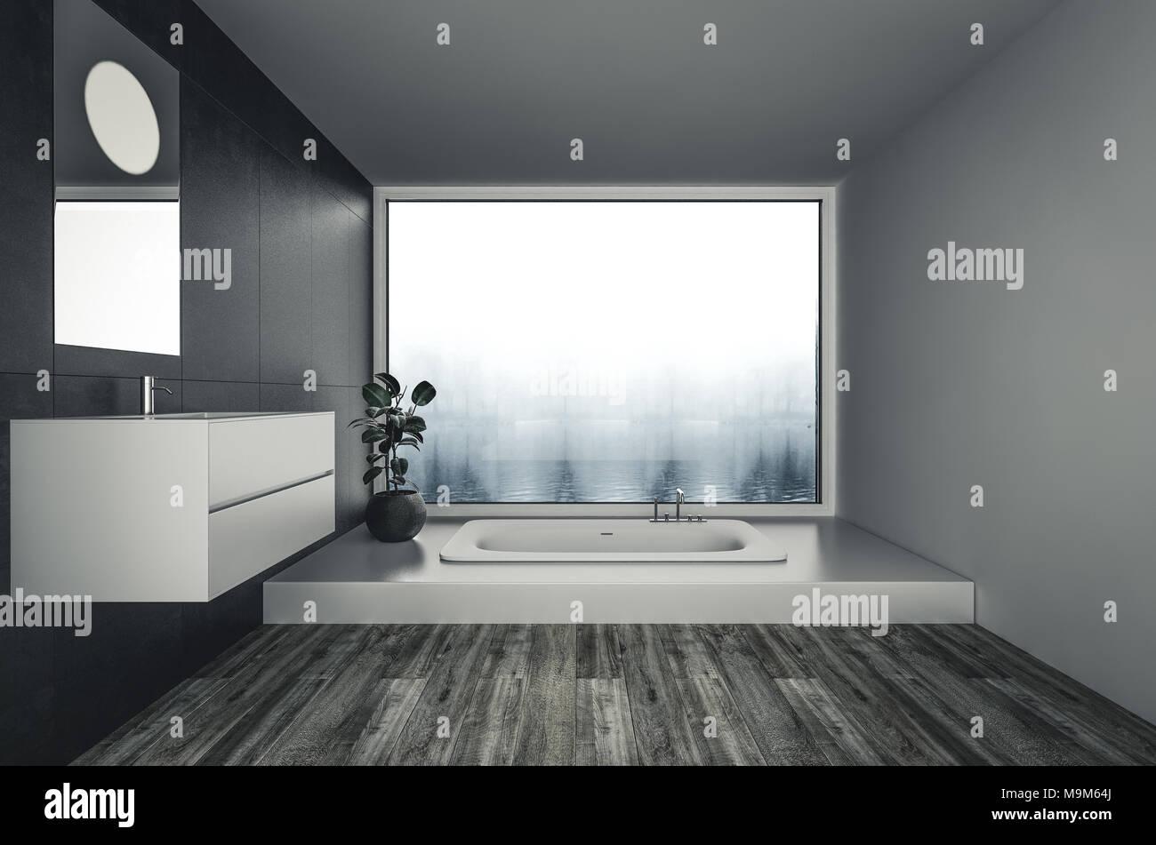 Vasche Da Bagno Moderne : Vasca da bagno in stile minimalista pulito e spazioso bagno moderno