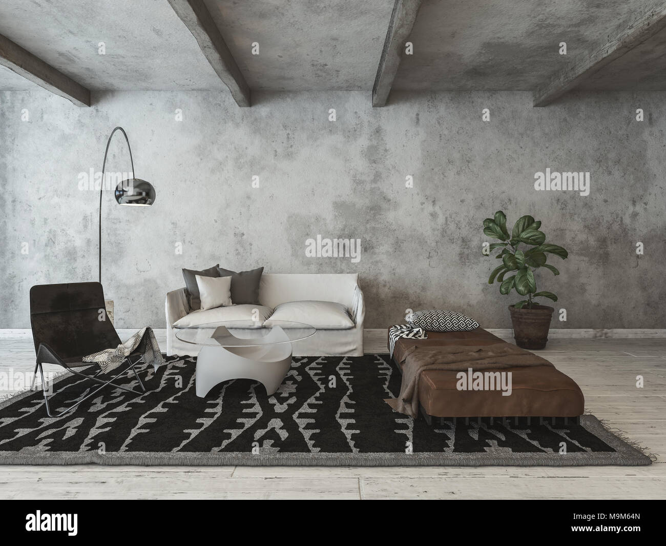 Pareti Soggiorno Grigio : Hipster moderno conversione loft soggiorno con la texture di