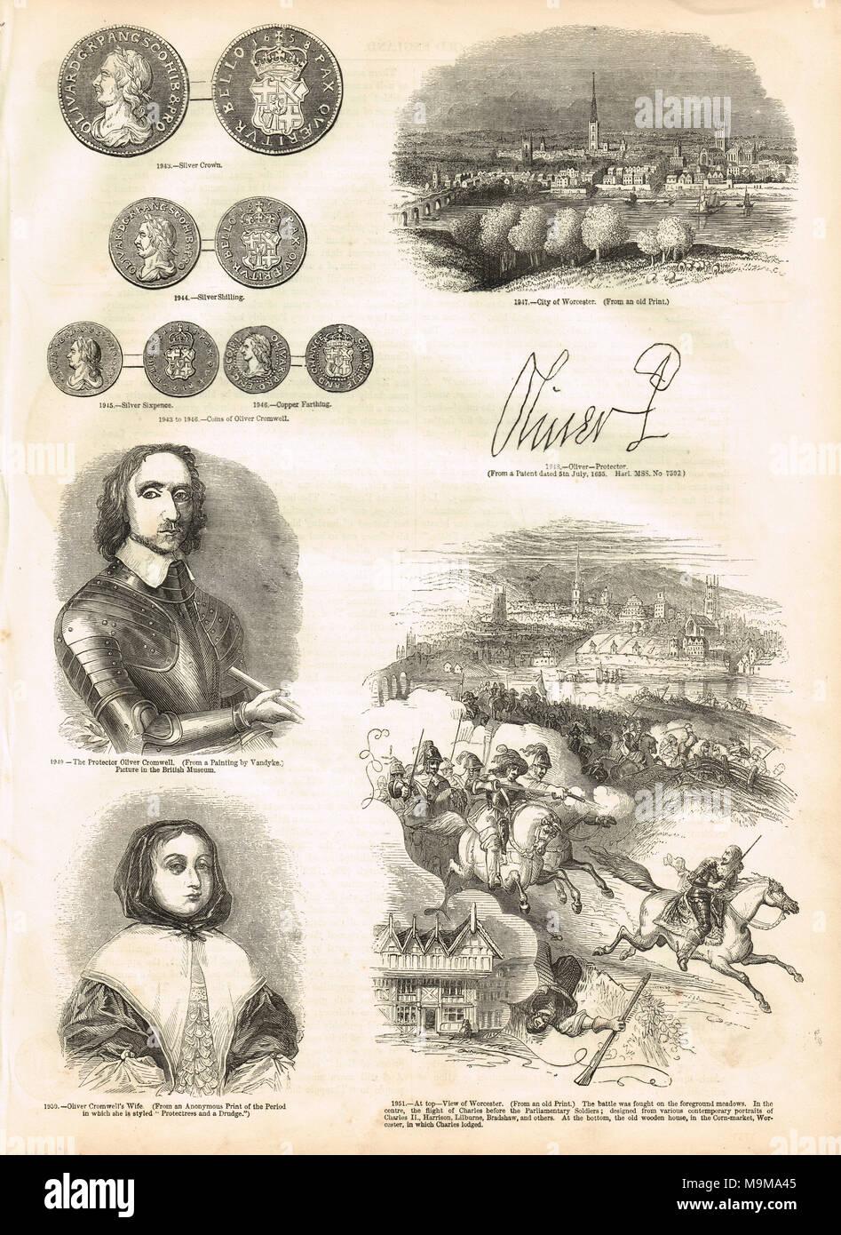 Selezione di Oliver Cromwell immagini correlate, Cromwell, Cromwell la moglie Elizabeth Cromwell, firma di Cromwell, Cromwellian monete, città di Worcester Immagini Stock