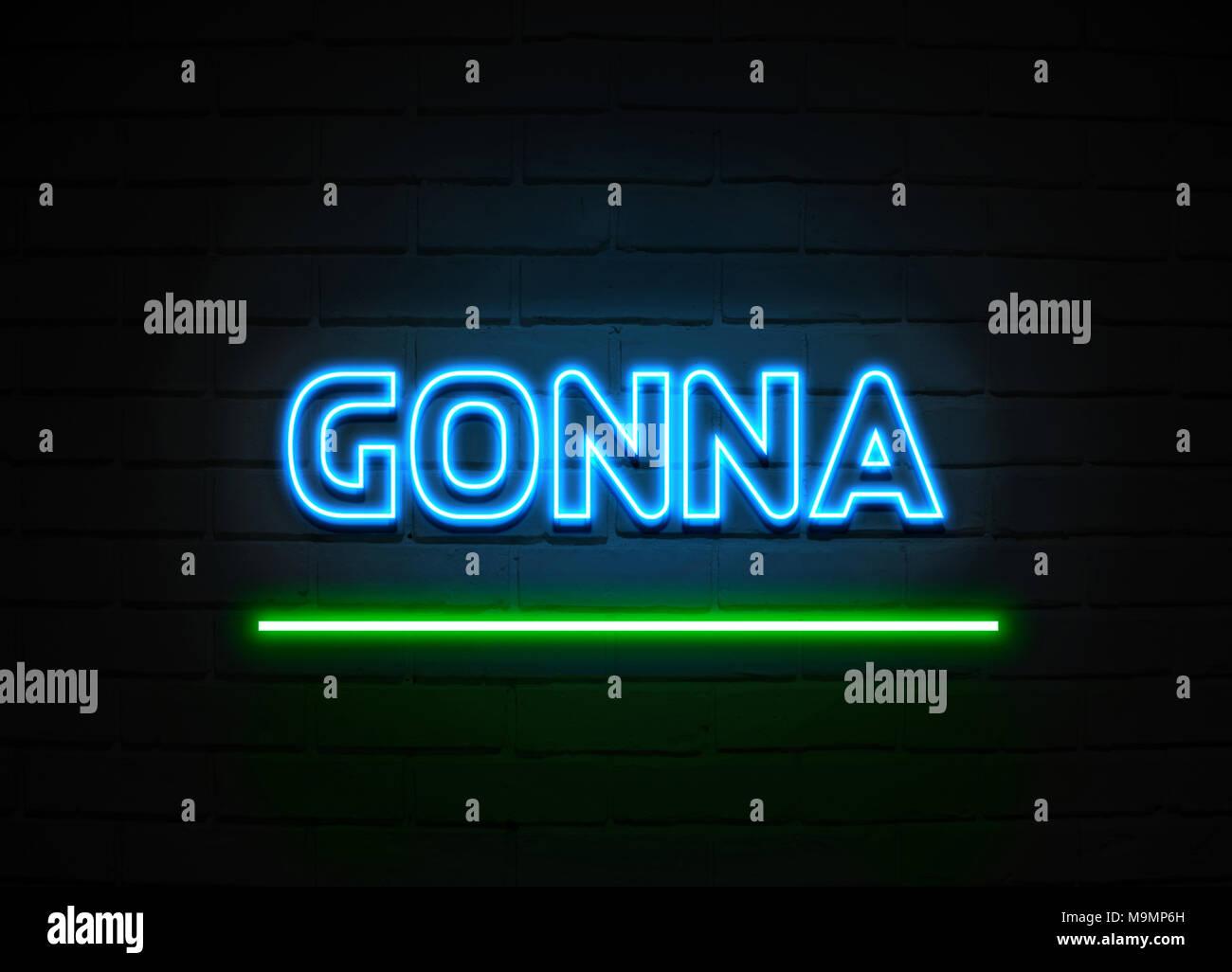 Andando a segno al neon - Neon incandescente segno sulla parete brickwall - 3D reso Royalty free stock illustrazione. Immagini Stock