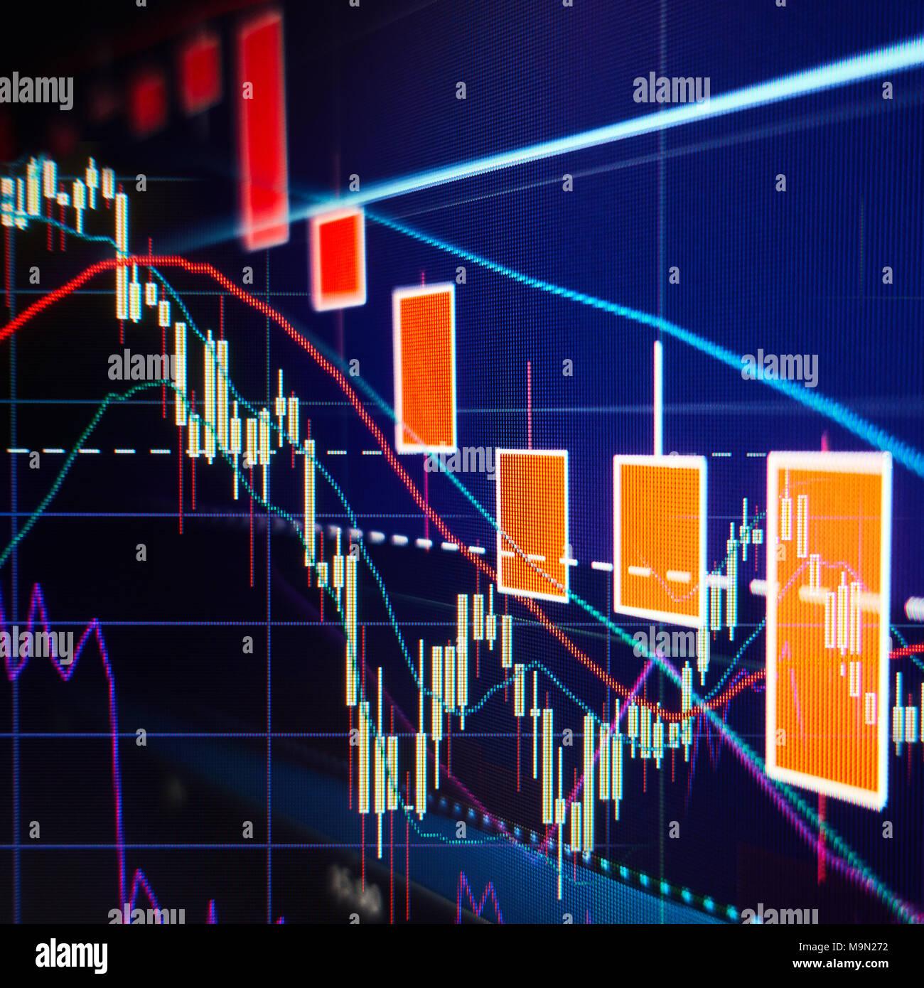 Stock Market selloff - Stock grafici e tabelle finanziarie e background aziendale Immagini Stock