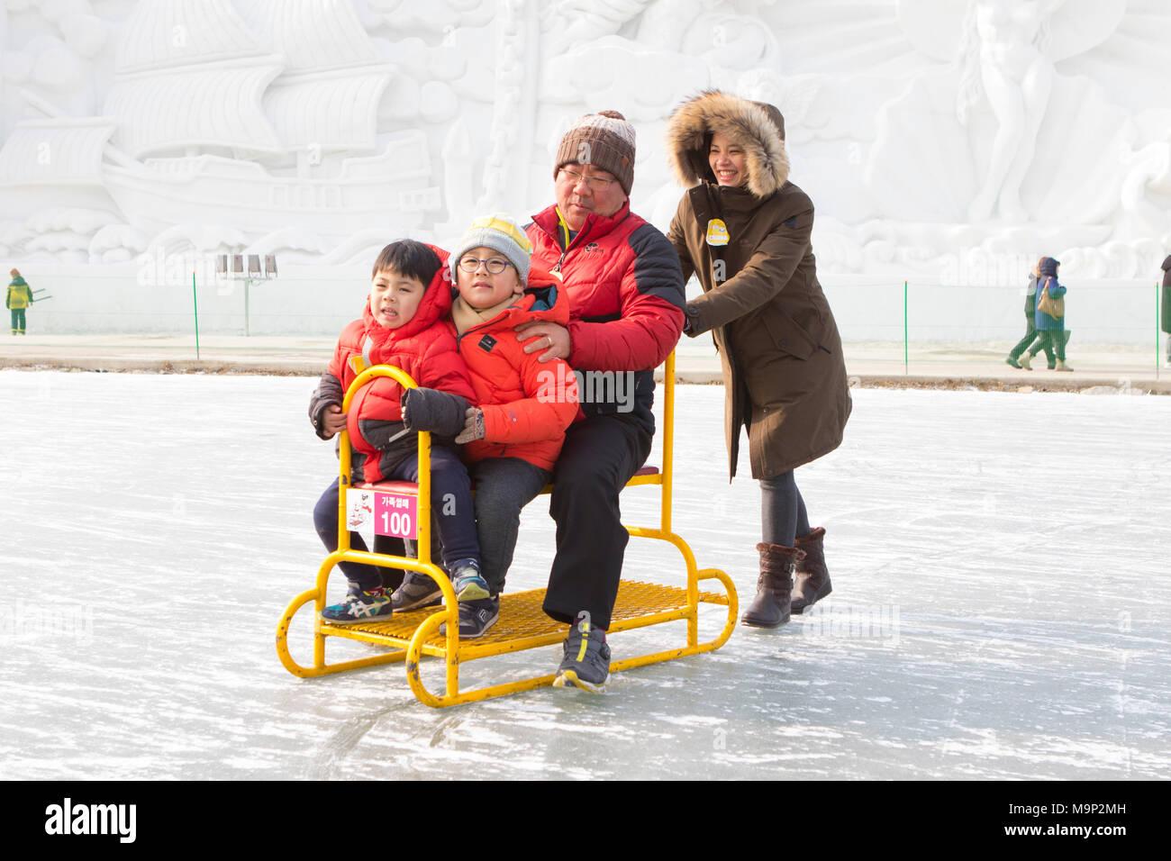 Una famiglia asiatica si diverte su una slitta di gruppo a un fiume congelato. Il Hwacheon Sancheoneo Festival di ghiaccio è una tradizione per il popolo coreano. Ogni anno nel mese di gennaio la folla si riuniranno presso il fiume congelato per celebrare il freddo e la neve dell'inverno. Attrazione principale è la pesca sul ghiaccio. Giovani e vecchi attendere pazientemente su un piccolo buco nel ghiaccio per una trota di mordere. In tende possono lasciare il pesce grigliato dopo che loro sono mangiati. Tra le altre attività sono corse in slittino e pattinaggio sul ghiaccio. La vicina regione Pyeongchang ospiterà le Olimpiadi Invernali nel febbraio 2018. Immagini Stock