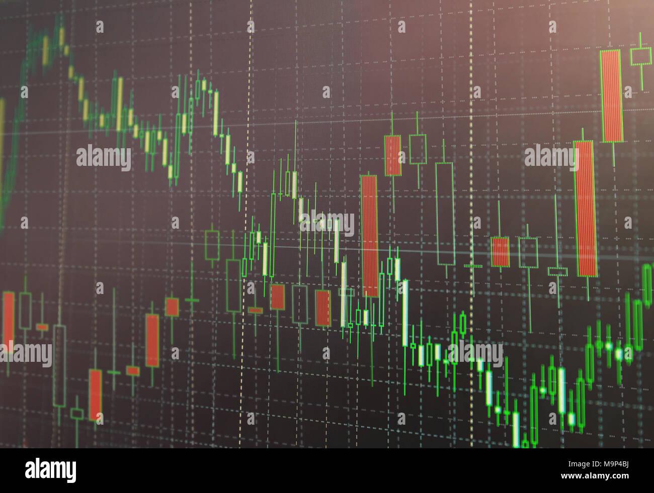 Mercato azionario o Forex Trading grafico e candelabro grafico adatto per gli investimenti finanziari concetto. Economia sullo sfondo delle tendenze per l'Idea di business e di un Immagini Stock