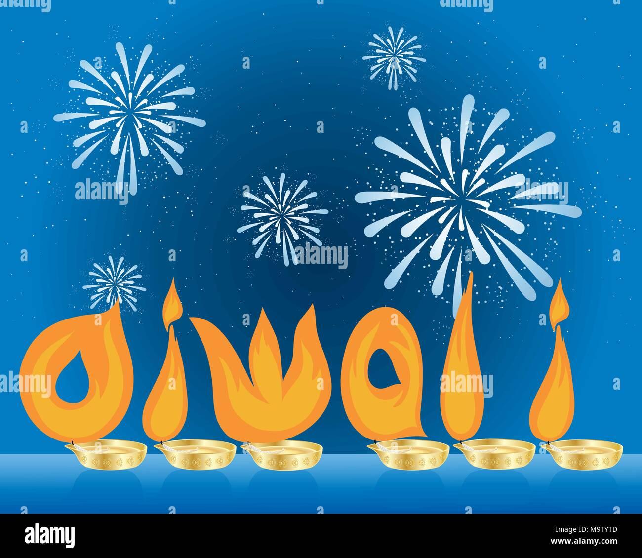 Una illustrazione vettoriale in formato eps formato 10 di fiamme arancione ortografia Diwali sotto un cielo scuro con fuochi d'artificio Immagini Stock
