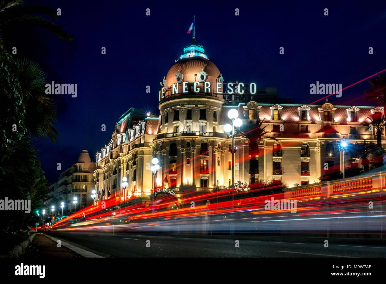 Negresco Hotel di notte, Promenade des Anglais, Nizza Immagini Stock