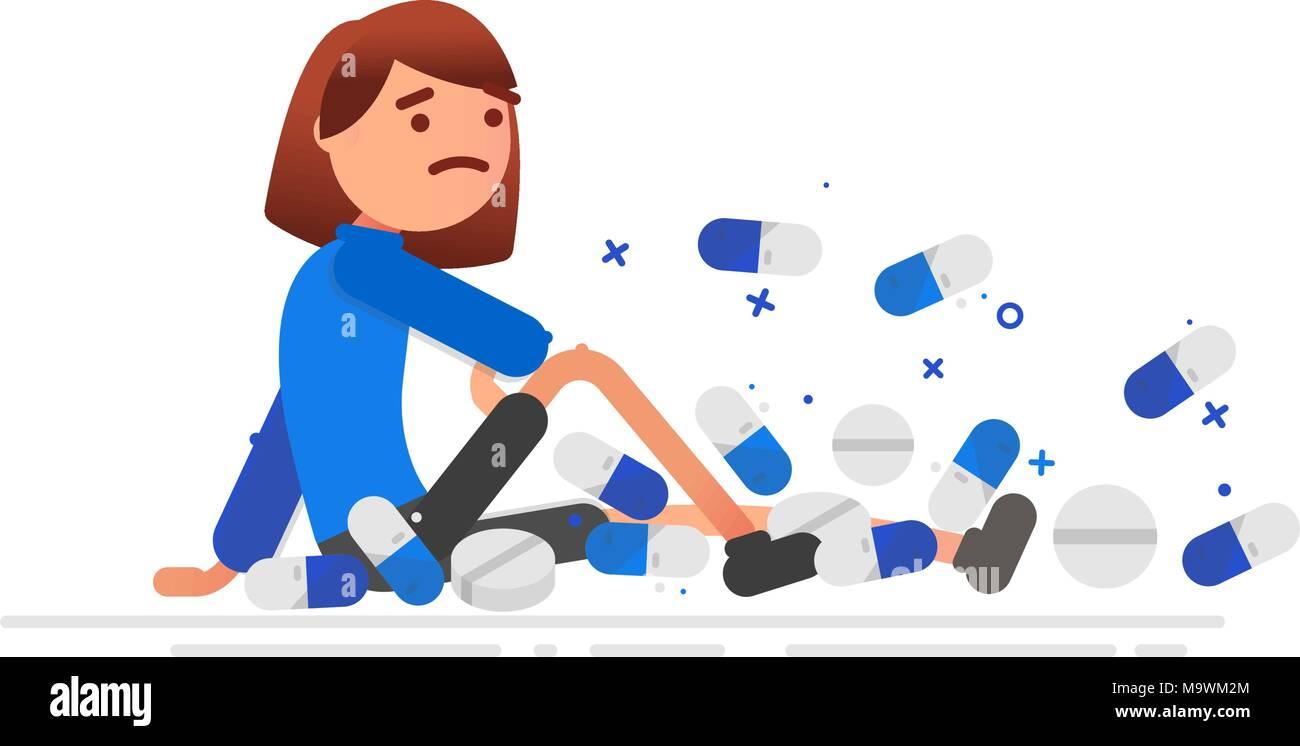 La donna è coperto con le pillole uno stile di vita sano concetto. Vettore illustrazione del fumetto. Pianta quadrata Immagini Stock