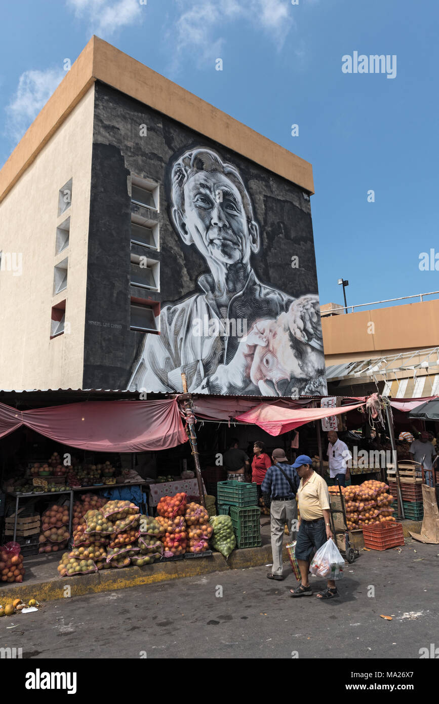 Arte di strada al Mercado Principal a San Francisco de Campeche, Messico Immagini Stock