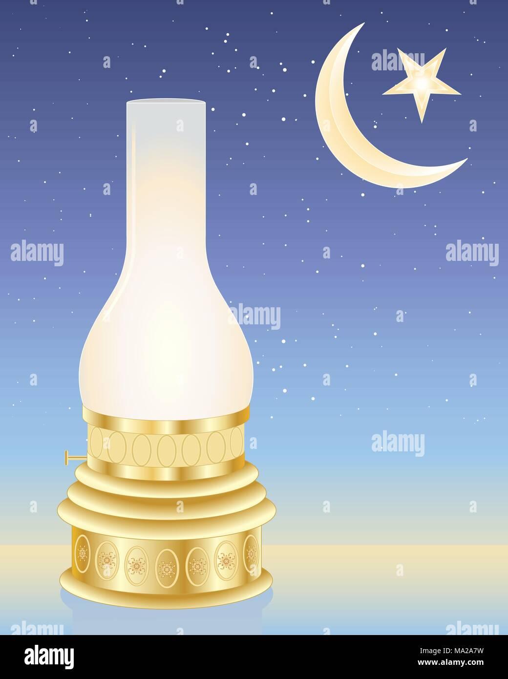 Una illustrazione vettoriale in formato eps formato 10 di Ramadan lampada con una mezzaluna e stella Immagini Stock