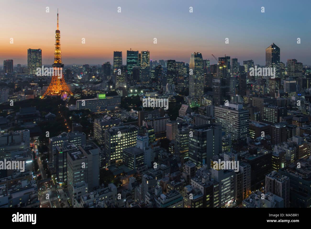 Asia, Giappone, Nihon, Nippon, Tokyo, città panoramica, Hamamatsucho stadium, vista da Tokyo World Trade Center Immagini Stock