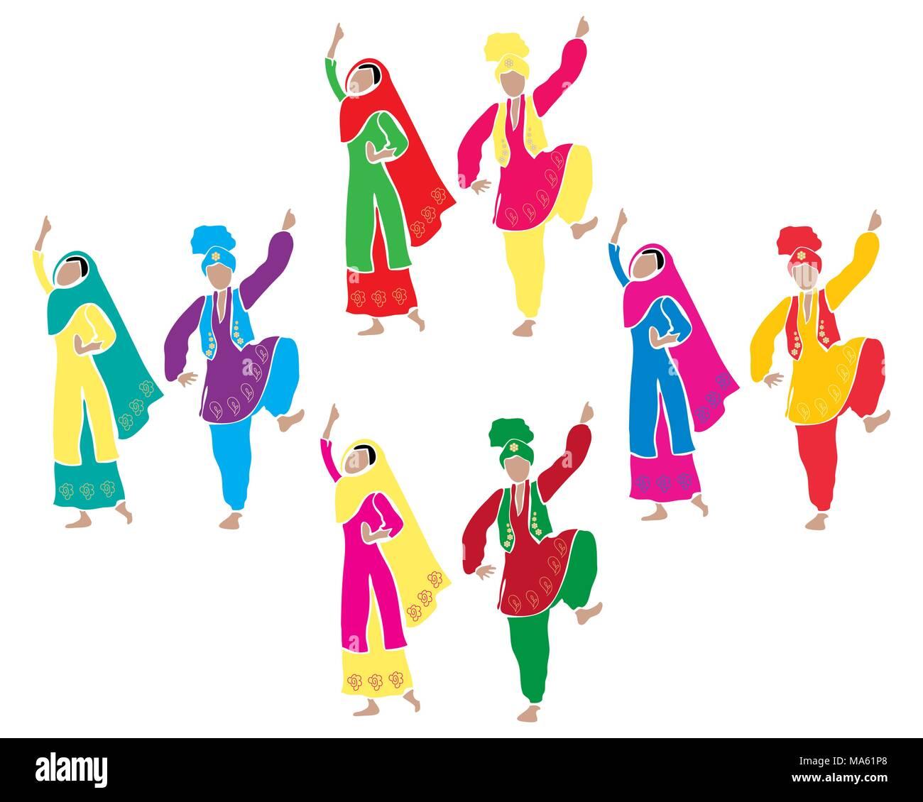 Una illustrazione vettoriale in formato eps della tradizionale Punjabi bhangra dancing con quattro coppie vestito in abiti colorati su sfondo bianco Immagini Stock