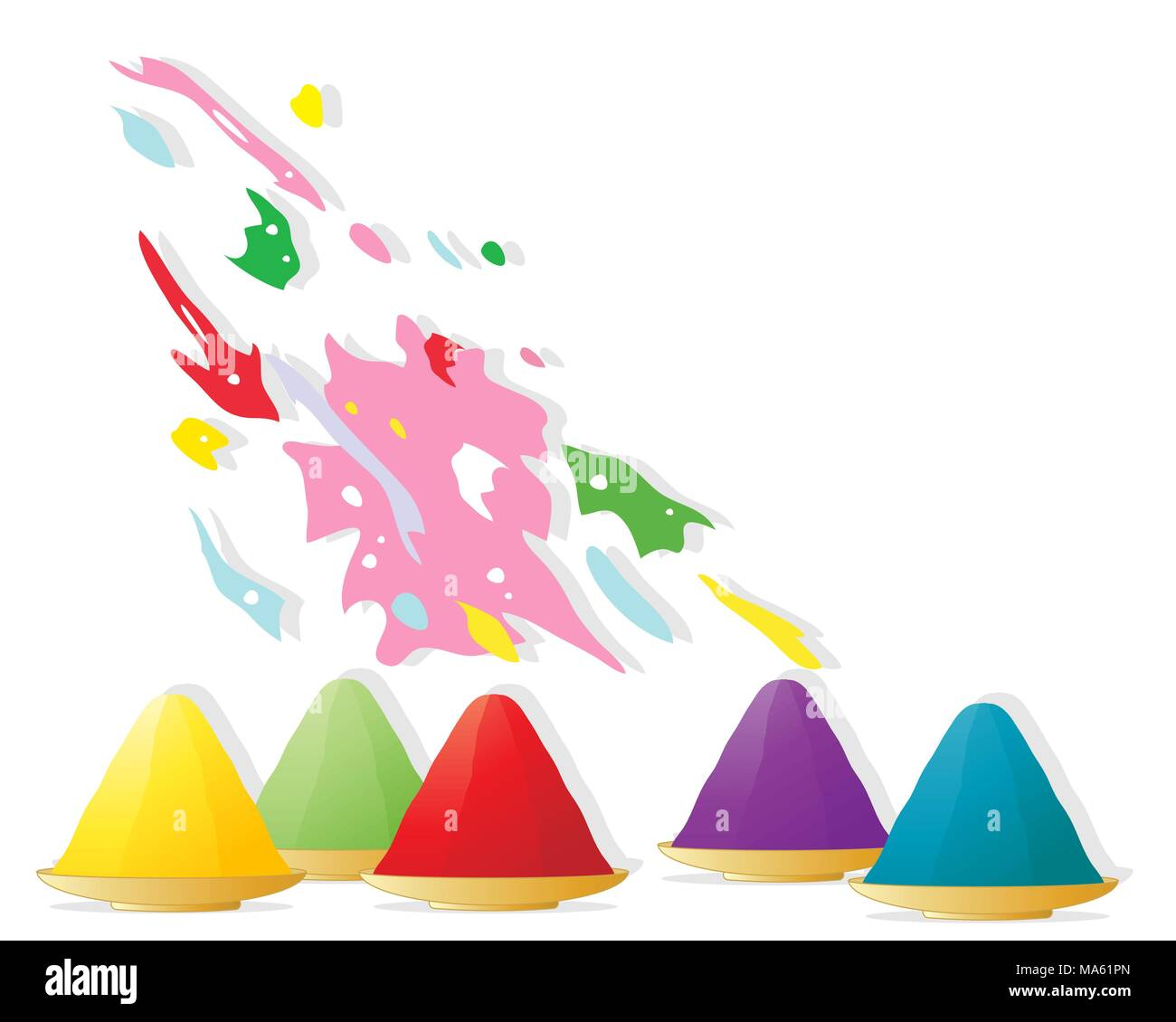 Una illustrazione vettoriale in formato eps formato 10 di ciotole di bright vernice in polvere e gli spruzzi di vernice per celebrare il festival indù di Holi Immagini Stock