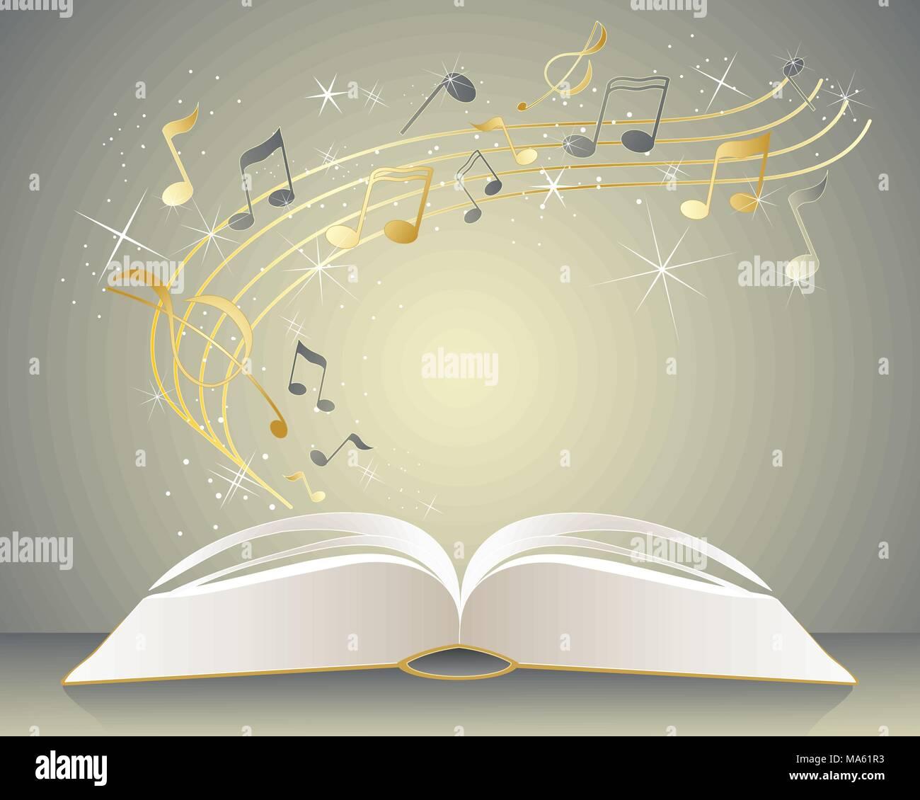 Una illustrazione vettoriale in formato eps formato 10 di aprire un libro di musica con oro e grigio radianti note dalle pagine con brillantini e stelle Immagini Stock