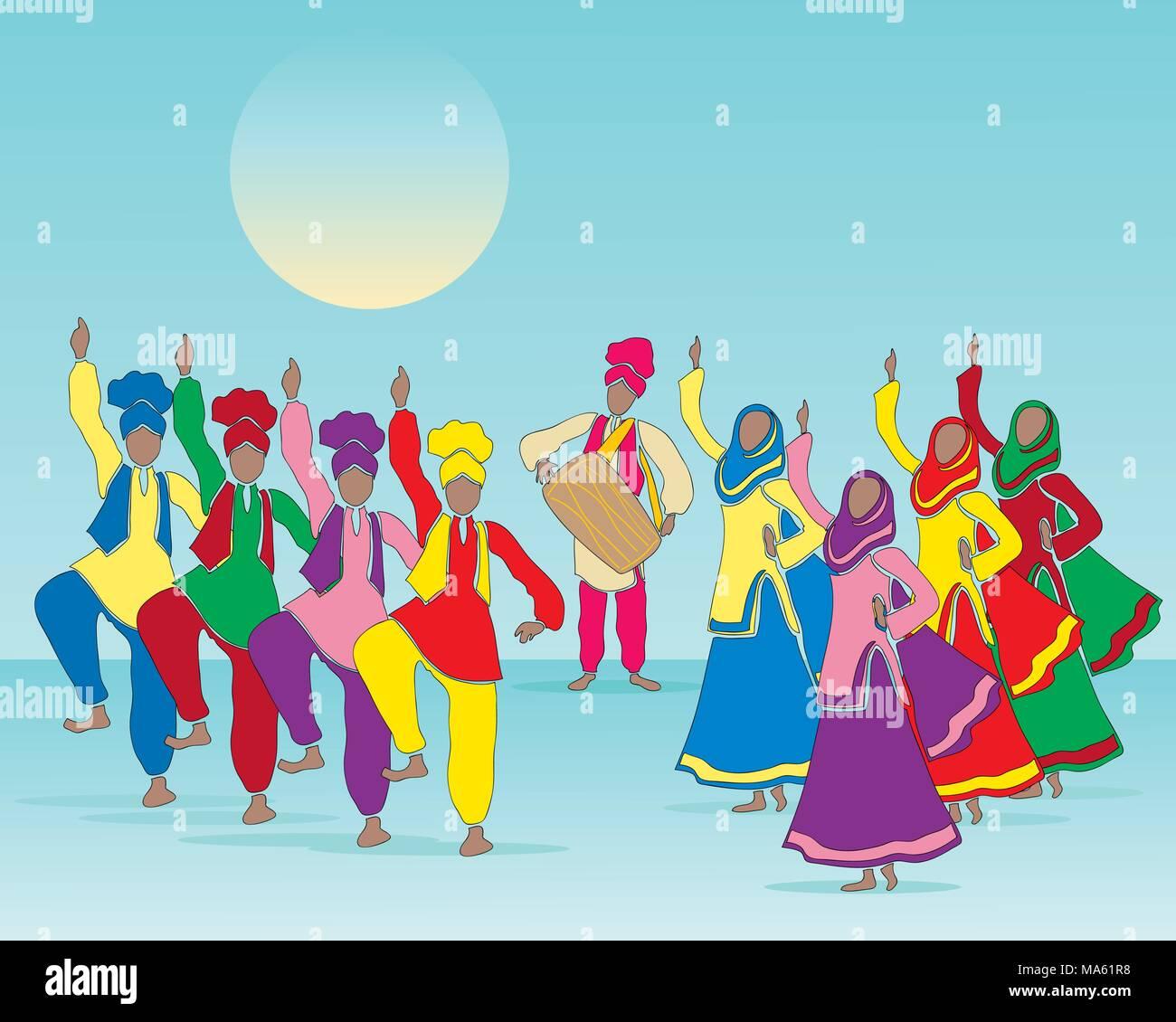 Una illustrazione vettoriale in formato eps formato 10 di un Punjabi folk dance con gli uomini e le donne in abito tradizionale e musicista in un azzurro sfondo verde Immagini Stock