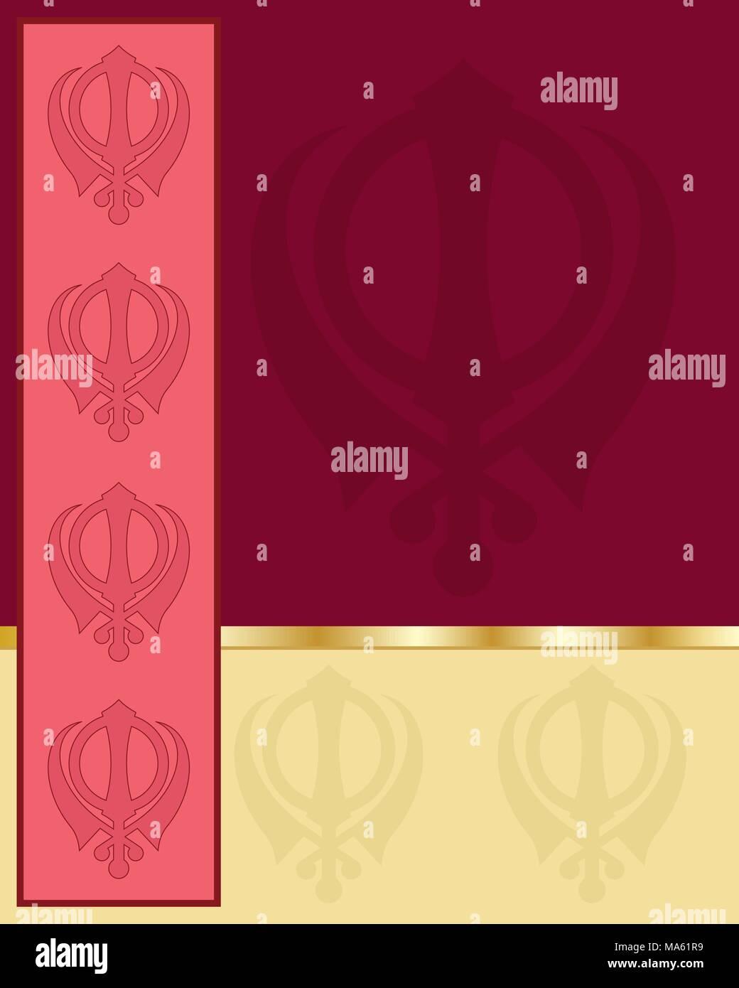 Una illustrazione vettoriale in formato eps formato 10 di un Punjabi stile Biglietto di auguri con blocchi di colore che mostra il simbolo Sikh su un profondo sfondo rosso Immagini Stock