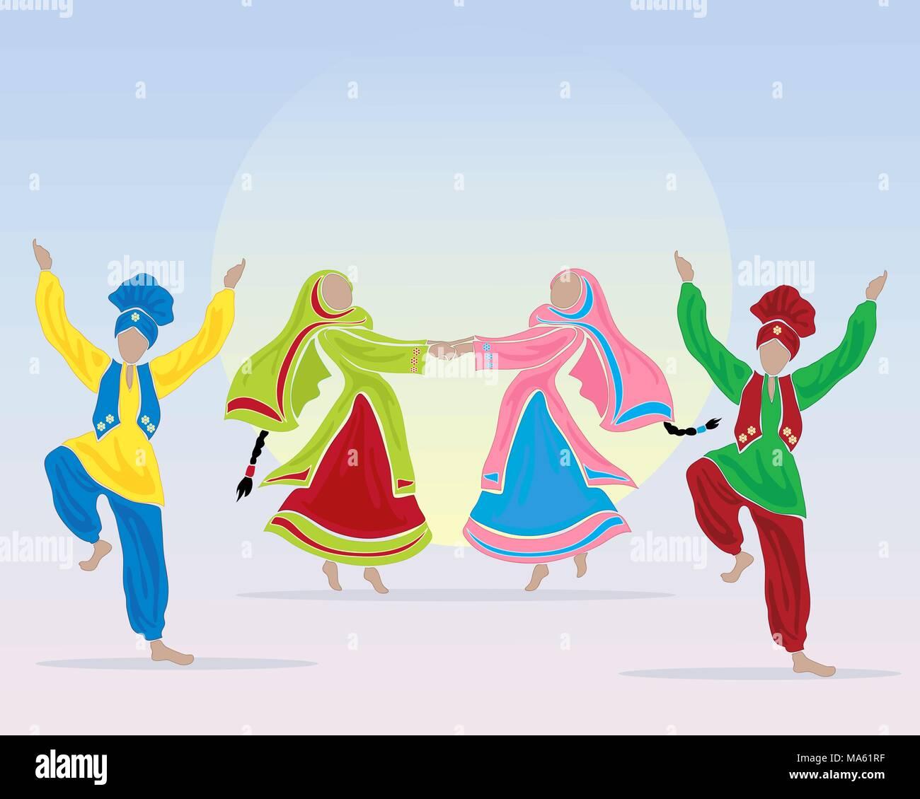 Una illustrazione vettoriale in formato eps formato 10 del punjabi ballerini eseguono un ballo folk in abito tradizionale su uno sfondo blu con un grande sole Immagini Stock