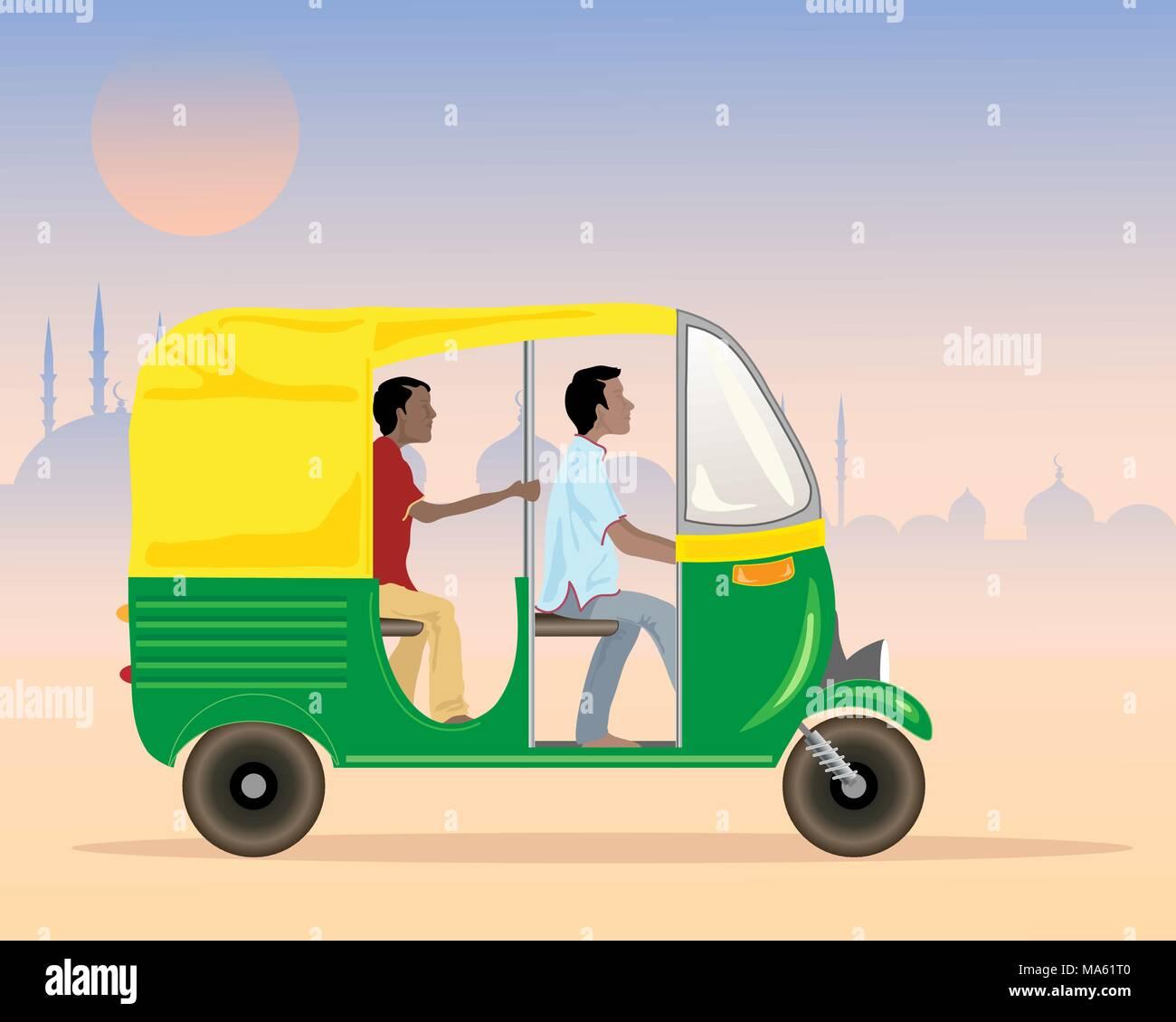 Una illustrazione vettoriale in formato eps formato 10 di un tuk tuk taxi in India con conducente e passeggero in un contesto urbano di sera Immagini Stock