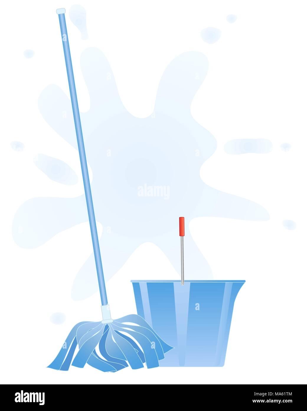 Una illustrazione vettoriale in formato eps formato 10 di freschi colori blu mop e la benna su un acqua splash sfondo Immagini Stock