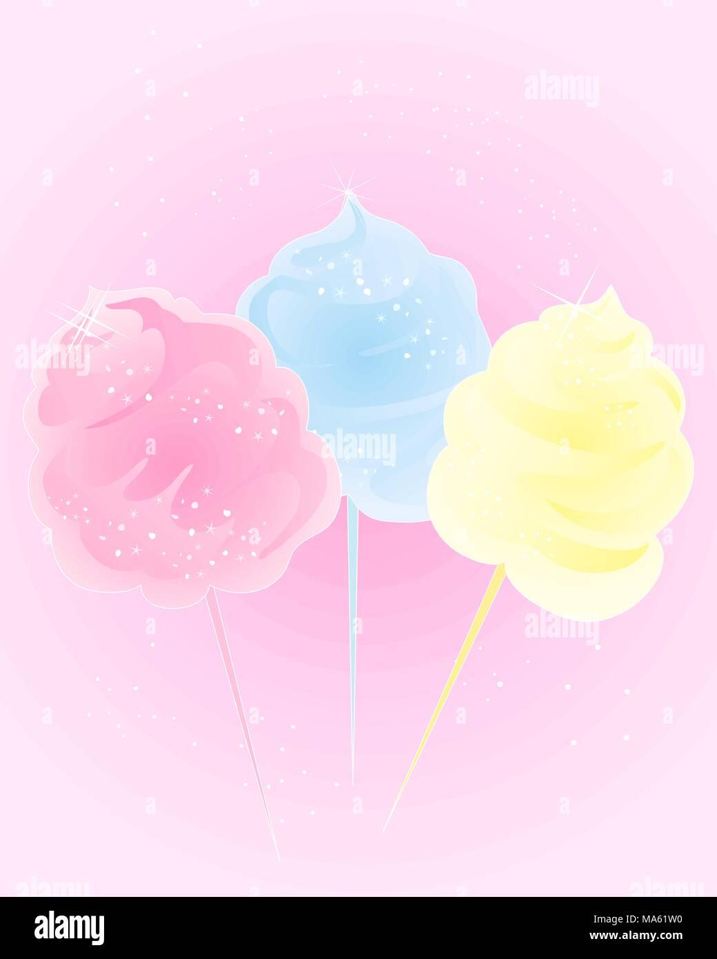 Una illustrazione vettoriale in formato eps formato 10 di cotone colorato candy in Rosa blu e giallo con brillantini e stanza per il testo su sfondo rosa Immagini Stock