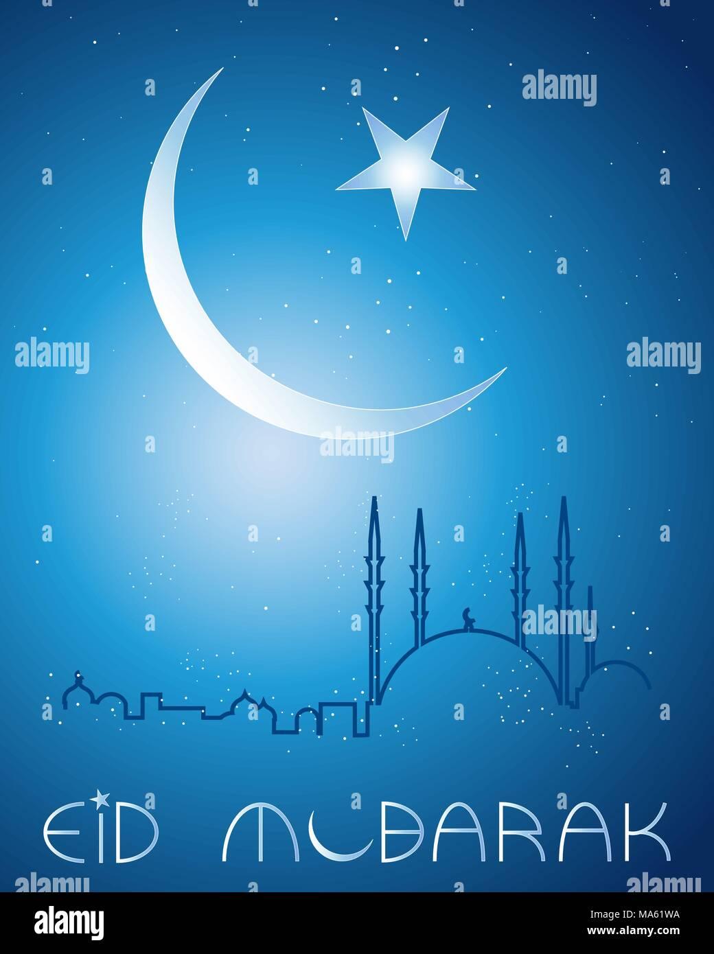Una illustrazione vettoriale in formato eps formato 10 di un festival di Eid greeting card sfondo con luna crescente stelle e una moschea astratta skyline Immagini Stock