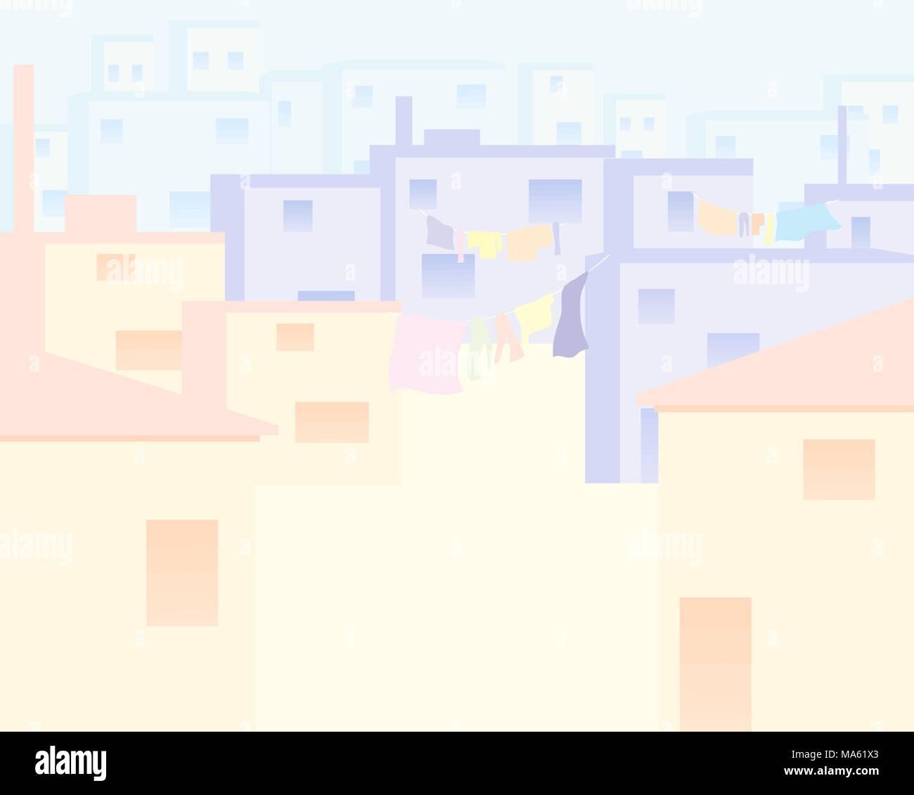 Una illustrazione vettoriale in formato eps di case in una città indiana fatta in una forma astratta con colori pallidi e spazio per il testo Immagini Stock