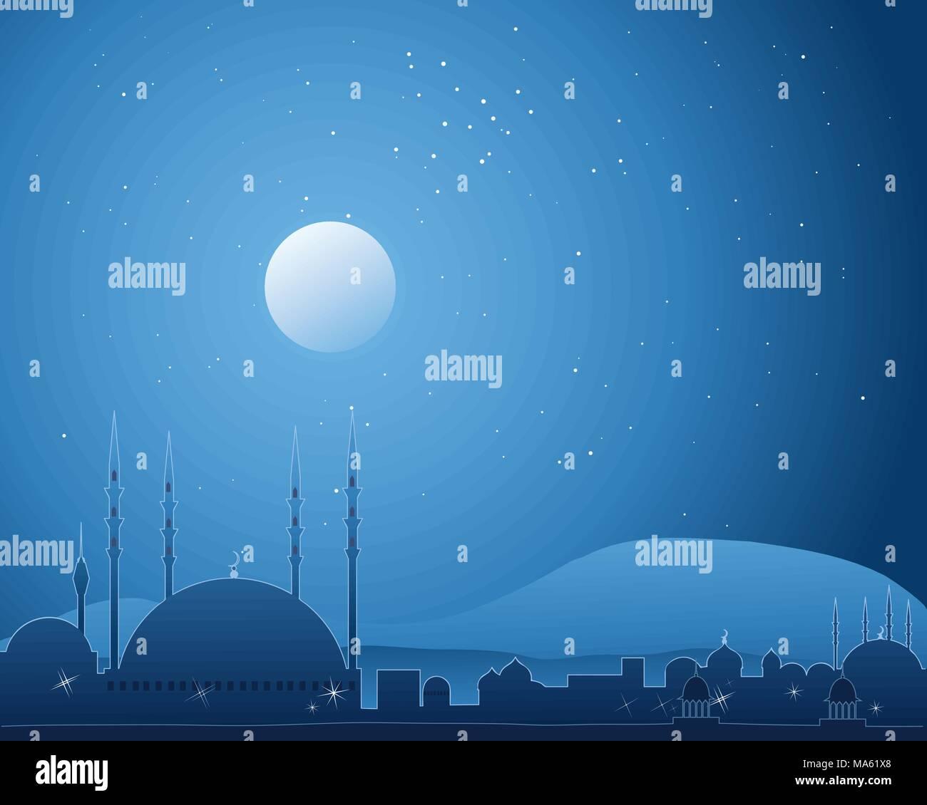 Una illustrazione vettoriale in formato eps formato 10 di una notte tempo città islamica in scena con cielo stellato e luna piena luce splendente di architettura Immagini Stock