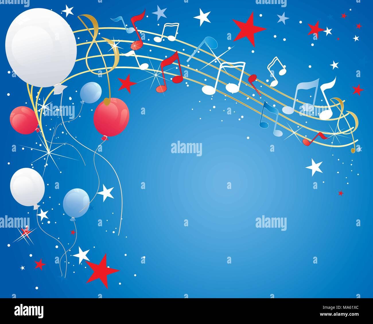 Una illustrazione vettoriale in formato eps formato 10 di luglio quarta celebrazione sfondo con note musicali palloncini brilla e stelle in rosso bianco e blu Immagini Stock
