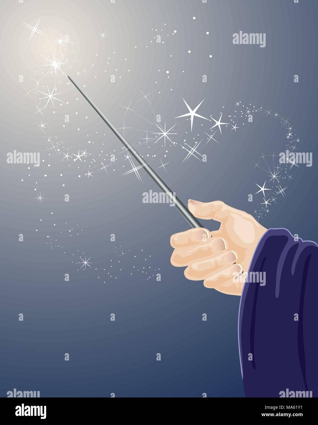 Una illustrazione vettoriale in formato eps formato 10 delle procedure guidate di una mano che tiene una bacchetta magica con brillantini e stelle su uno sfondo blu scuro Immagini Stock