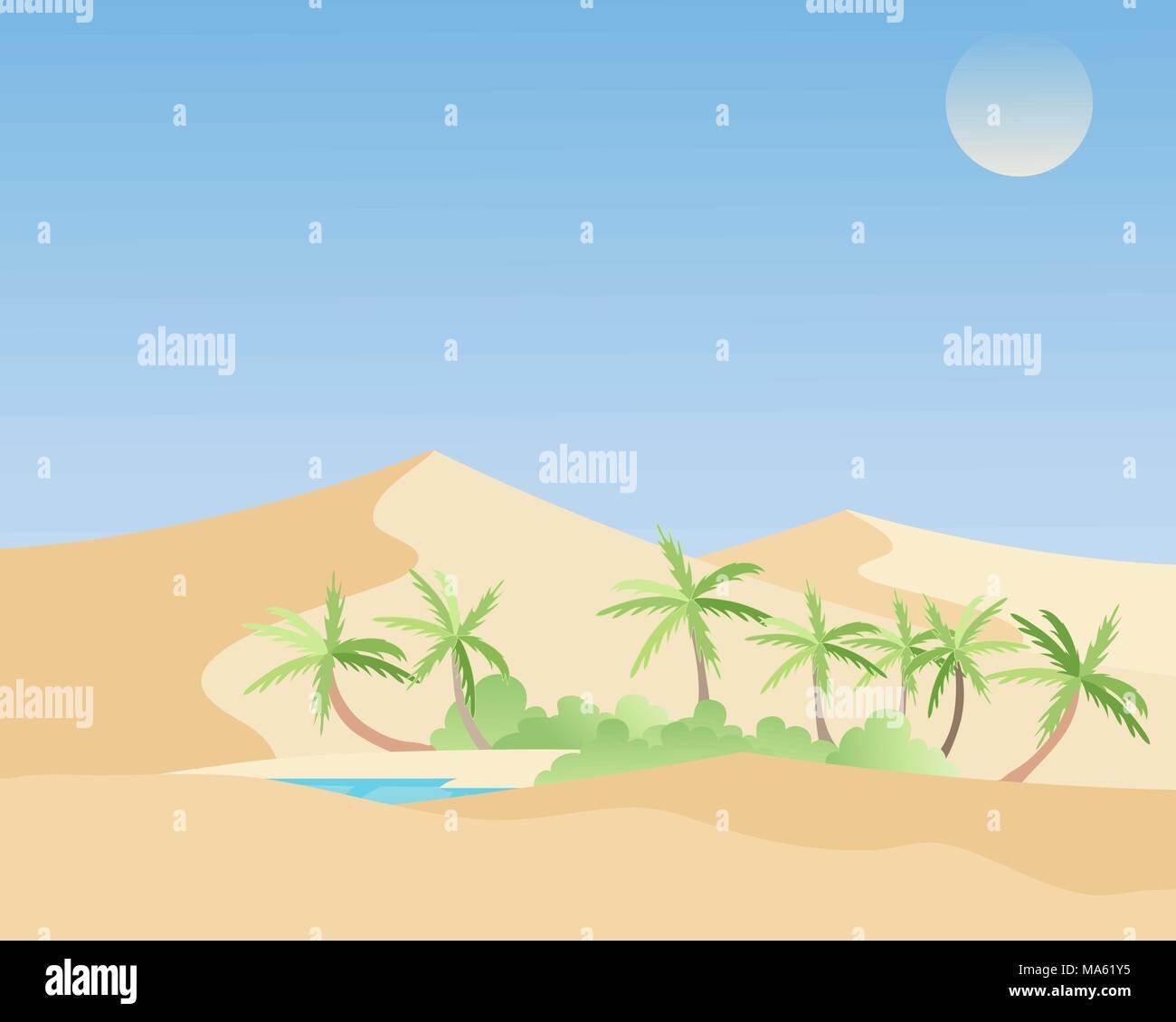 Una illustrazione vettoriale in formato eps formato 10 di una bellissima oasi in un deserto caldo paesaggio con alberi di palma verde della tipica vegetazione mediterranea e di una rinfrescante laguna blu Immagini Stock