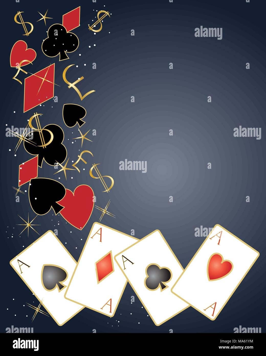 Una illustrazione vettoriale in formato eps formato 10 di carte da gioco con i simboli del dollaro e simboli di cancelletto e brilla su sfondo scuro Immagini Stock