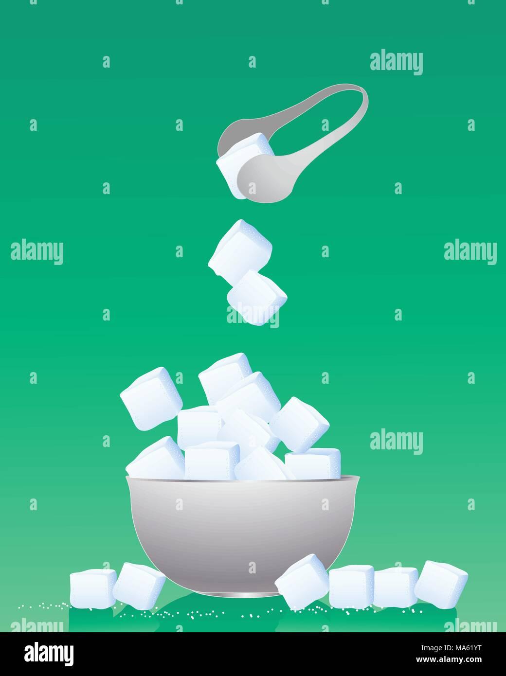 Una illustrazione vettoriale in formato eps formato 10 di una ciotola di cubetti di zucchero con pinze in metallo e granuli su uno sfondo verde Immagini Stock